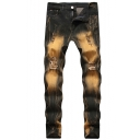 Men's New Fashion Trendy Distressed Ripped Vintage Brown Unique Washing Jeans