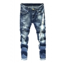 Men's Popular Fashion Letter Stripe Printed Blue Distressed Ripped Jeans