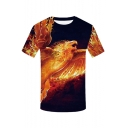 Mens Stylish Red Phoenix Pattern Round Neck Short Sleeve Black T-Shirt