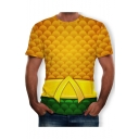Mens Hot Sale Short Sleeve Round Neck Printed Yellow T-Shirt