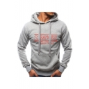 Men's Popular Fashion Letter Printed Casual Slim Fit Hooded Drawstring Hoodie