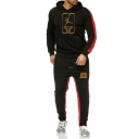 Men's New Fashion Colorblock Patched Side Letter 23 Figure Printed Long Sleeve Hoodie Sports Sweatpants Casual Two-Piece Set