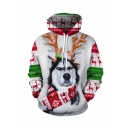 Christmas New Fashion Color Block Antlers Dog 3D Printed Long Sleeve White Casual Loose Hoodie