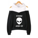 Fashion Alien Letter Storm Area Printed Cold Shoulder Long Sleeve Pullover Hoodie