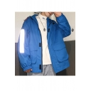 Guys Fashion Simple Plain Long Sleeve Reflective Detail Hooded Zip Up Blue Track Jacket