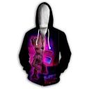 Funny Purple 3D Printed Sport Loose Zip Up Unisex Hoodie