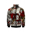 Hot Popular Comic Pattern Stand Collar Long Sleeve Zip Up Baseball Jacket