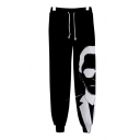 New Fashion Famous Character 3D Printed Black Drawstring Waist Casual Loose Joggers Sweatpants