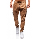 Mens New Fashion Solid Color Flap Pocket Side Zip Cuffs Drawstring Waist Casual Cargo Pants