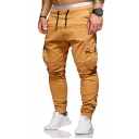 Mens New Fashion Solid Color Drawstring Waist Casual Slim Cargo Pants with Side Pocket