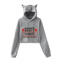 Dunder Mifflin Star Letter SCOTT Printed Cute Cat Ear Long Sleeve Crop Hoodie