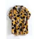 Summer Hot Fashion Geometric Pattern Casual Short Sleeve Cotton Shirt for Guys