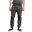 New Arrival Trendy Solid Color Drawstring Waist Elastic Cuffs Casual Pencil Pants for Men