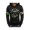 Men's New Fashion Camouflage Letter Stripe Printed Long Sleeve Casual Sports Drawstring Hoodie