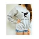 Leisure DRACARYS Letter Dinosaur Print Long Sleeve Round Neck Grey Pullover Sweatshirt