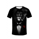 Men's Summer Hot Popular Lion Pattern Round Neck Short Sleeve Leisure Black T-Shirt