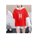 New Trendy Kpop Logo Patched Layered Long Sleeve Loose Fitted Hoodie