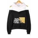 New Popular American Singer Letter Printed Long Sleeve Cold Shoulder Relaxed Hoodie