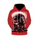 Cool Mechanical Skull 3D Printed Red Long Sleeve Loose Fit Drawstring Hoodie