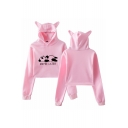 New Popular Letter MAYBE LATER Cute panda Print Cat Ear Cropped Casual Hoodie