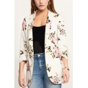 Women's Retro Floral Print Open Front Slim Fit Coat Blazer