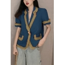 Retro Lapel Collar Flap Pocket Short Sleeve Single Button Striped Contrast-Panel Blazer Coat