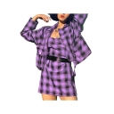 Purple Plaid Pattern Notched Lapel Collar Ribbon Embellished Cropped Blazer Jacket