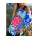 Hot Women's Colorful Print One Shoulder Long Sleeves Pullover Sweatshirt