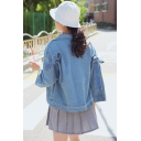 New Arrival Sweet Style Long Sleeve with Bow Denim Jacket Coat