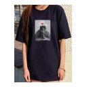 Figure Letter Printed Round Neck Hip Hop Style Black Oversized T-Shirt