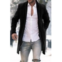 Mens Hot Fashion Simple Solid Color Long Sleeve Open Front Long Coat
