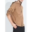 Mens Hot Fashion Leisure Plain Long Sleeve Zip Placket Hooded Casual Coffee Trench Coat