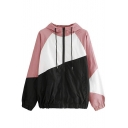 Stylish Color Block Elastic Hem Long Sleeve Zip Up Drawstring Hooded Coat Jacket
