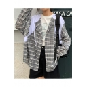 Hooded Plaid Pattern Colorblock print Button Placket Women's Sun Protect Outdoor Coat