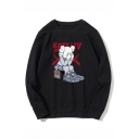 Popular Fashion Cartoon Figure Letter Printed Round Neck Long Sleeve Unisex Trendy Sweatshirts
