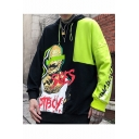 Street Style Hot Fashion Colorblock Letter Figure Printed Long Sleeve Hip Pop Pullover Hoodie