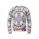 Popular Fashion Tie dyeing Alien 3D Printed Long Sleeve Round Neck Green and Pink Pullover Sweatshirts