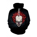 Hot Fashion Clown 3D Printed Drawstring Hooded Long Sleeve Black Casual Loose Hoodie
