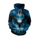 New Fashion Galaxy Black Hole Figure 3D Printed Drawstring Hooded Long Sleeve Navy Loose Hoodie