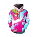 New Fashion Colorful Painted 3D Printed Drawstring Hooded Long Sleeve Loose Fit Unisex Pink Pullover Hoodie