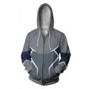 Hot Popular Comic Figure Quicksilver 3D Printed Cosplay Costume Grey Long Sleeve Zip Up Hoodie