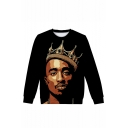 American Famous Rapper Crown 3D Printed Long Sleeve Round Neck Black Pullover Sweatshirts