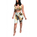 Ladies Sexy Chains Print Halter V Neck Crop Cami with High-Waist Slim Bermuda Shorts Two-Piece Set