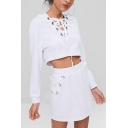 New Ladies White Plain Tie-Neck Hoodie Long Sleeve Midriff Tops with Skorts Two Piece Set