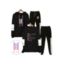 New Arrival Letters WONDER HER ANSWER TEAR Print Long Sleeve Hoodie with Elastic Sweatpants Two Piece Set