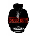American Popular Rapper Letter SOLD OUT Printed Black Long Sleeve Drawstring Hooded Pullover Hoodie