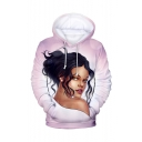 Hot Fashion American Popular Female Singer 3D Printed Long Sleeve Drawstring Hooded Pink Hoodie