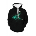 Popular Football Player Figure 3D Printed Black Long Sleeve Casual Loose Hoodie