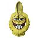 New Fashion Cute Cartoon 3D Printed Long Sleeve Yellow Zip Up Hoodie