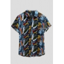 Summer Hot Fashion Plant Pattern Casual Short Sleeve Lapel Collar Shirt for Guys